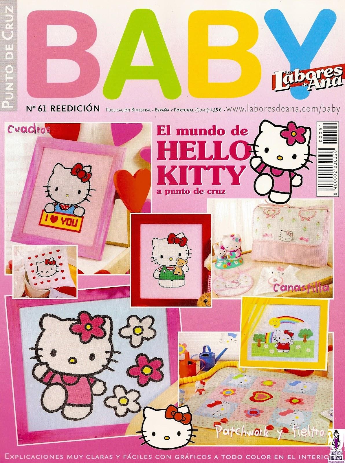Lenceria De Baño De Hello Kitty:he usado gráficos de esta revista para bordar una cenefa