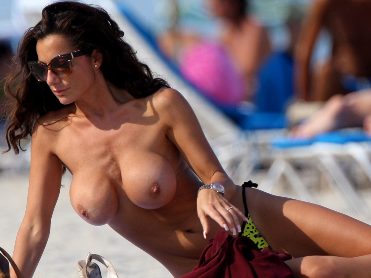 topless beach fake tits