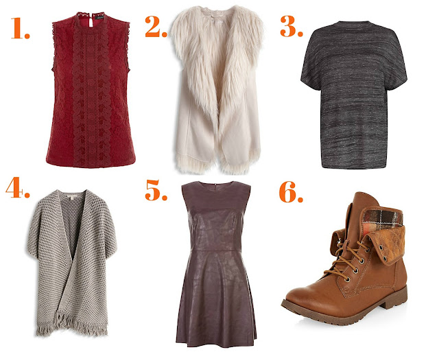 Autumn clothing wishlist collage with white background