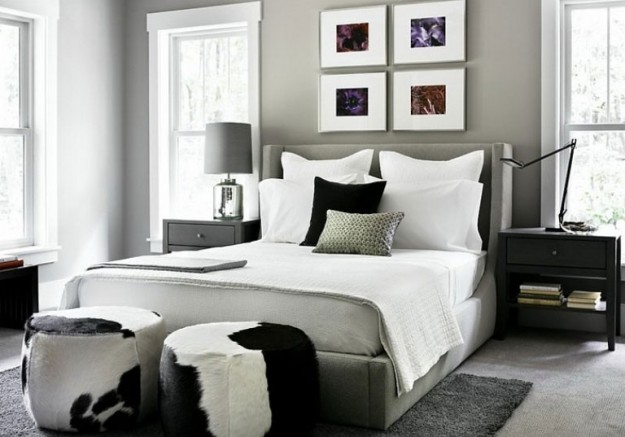 Dormitorios con paredes grises dormitorios con estilo - Black white and silver bedroom ideas ...