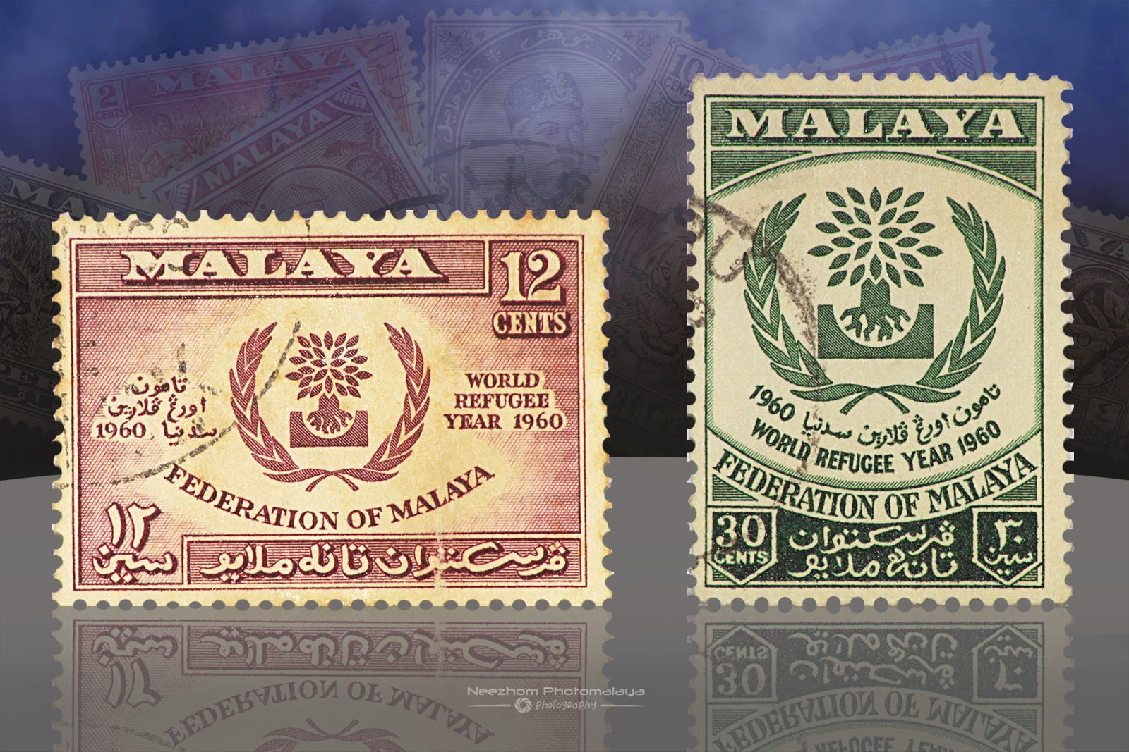 Setem Malaya 12 Cents World Refugee Year 1960, 30 Cents World Refugee Year 1960