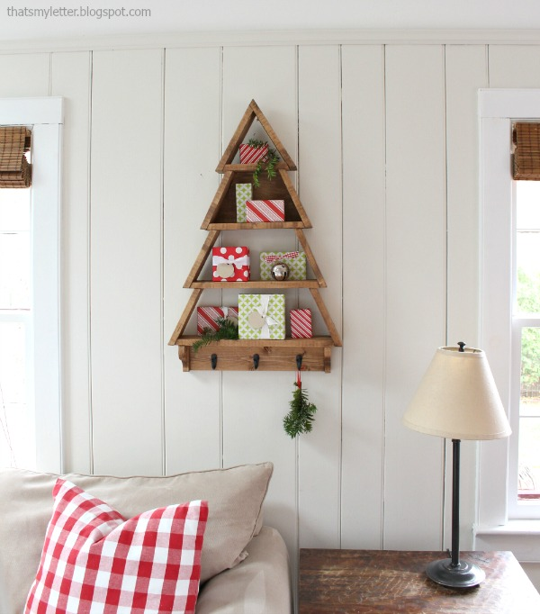 diy tree shaped wall shelf
