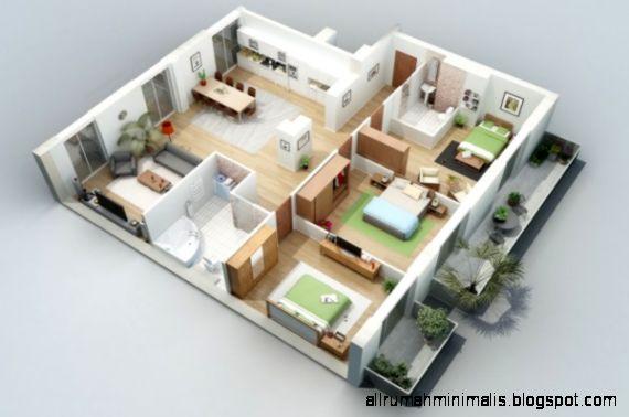 10 Denah Rumah Minimalis 3 Kamar Tidur