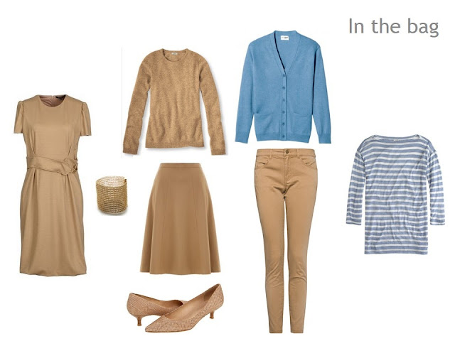 Travel Six-Pack capsule wardrobe in camel and blue: dress, skirt, sweater, cardigan, trousers and tee shirt