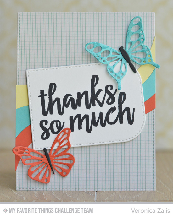 Thanks So Much Card by Veronica Zalis featuing the Written in Watercolor stamp set and Flutter of Butterflies-Lace and Ride the Wave Die-namics #mftstamps