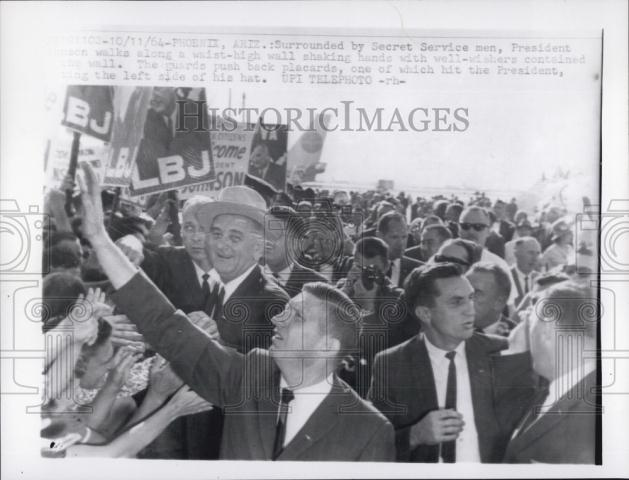 LBJ with SA Win Lawson, SAIC Lem Johns, etc