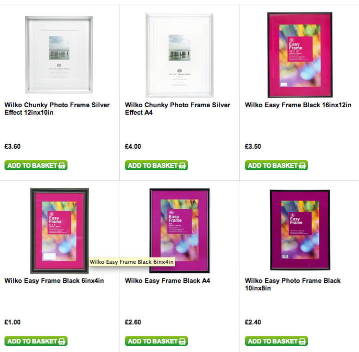 Design Context: Photoframe research - Wilkinsons online.