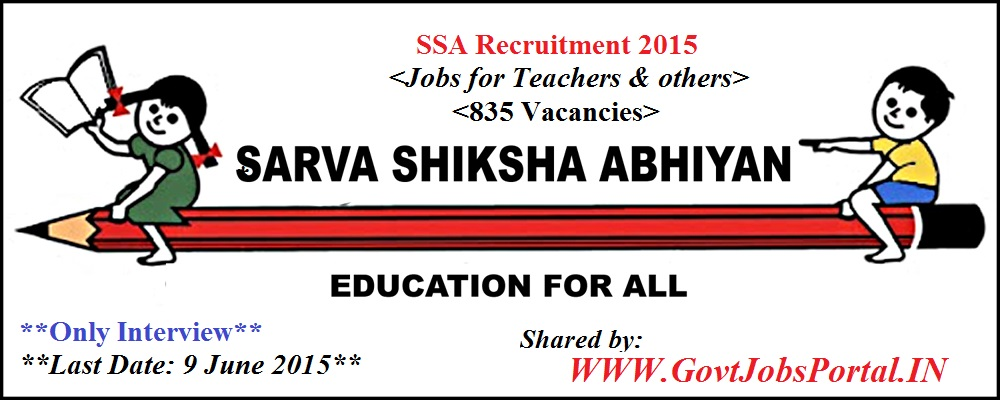 SARVA SHIKSHA ABHIYAN RECRUITMENT 2015- 835 VACANCIES - Govt Jobs ...