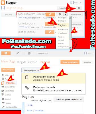 Criar uma pagina no blogger nova interface atualizada do blogspot