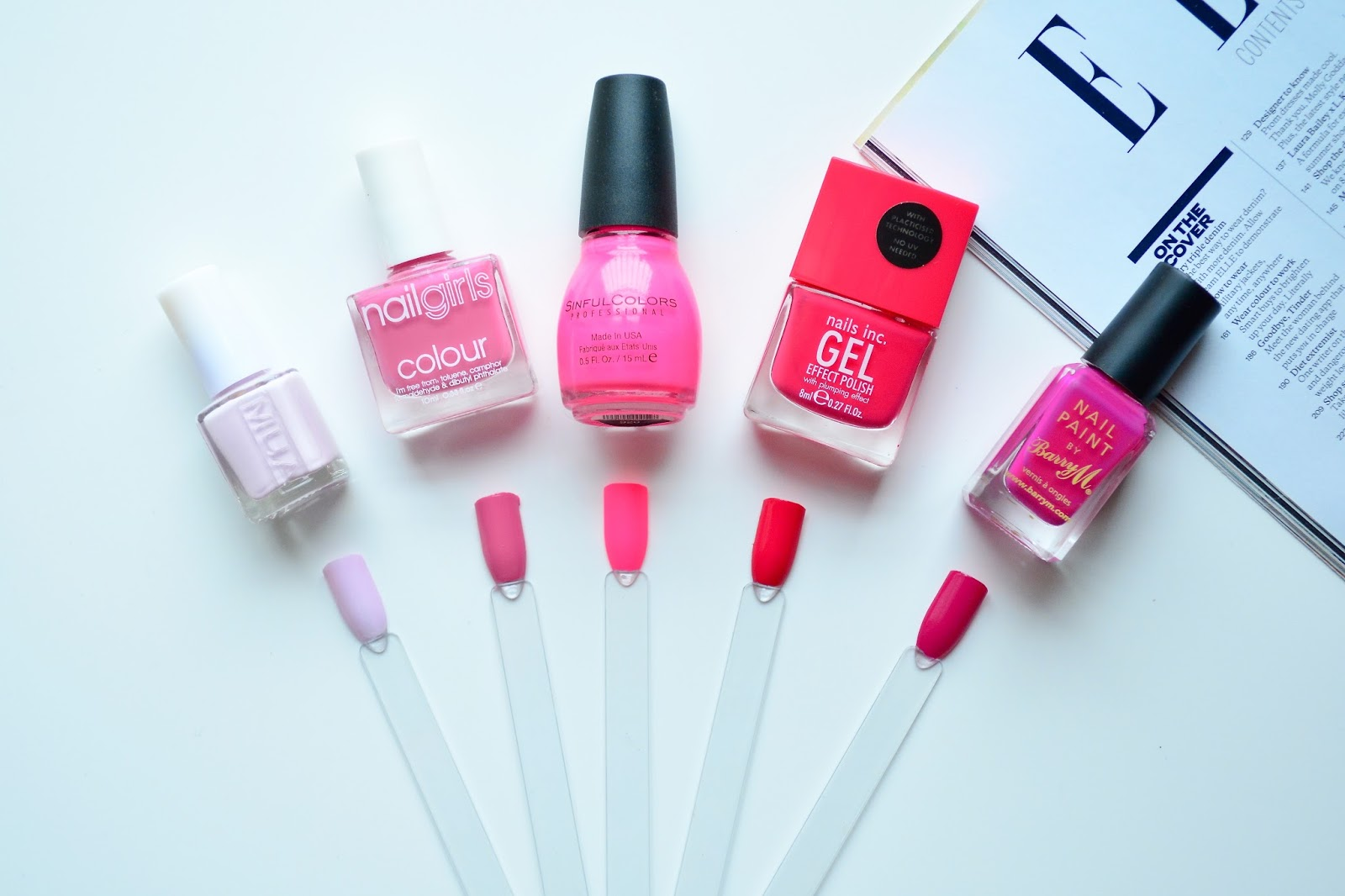 Nail Polish, Pink Nail Polish, Lipstick, Barry M, Nails Inc, MUA Lilac Nail Polish, Nail Girls Nail Polish, Sinful Colors, Pink