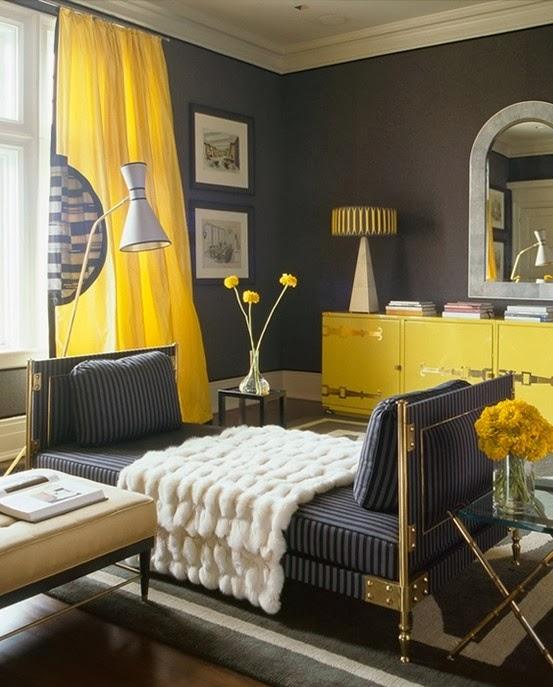 Decoracion En Gris Y Amarillo ~ de sala vemos que el color principal es el color gris y el amarillo