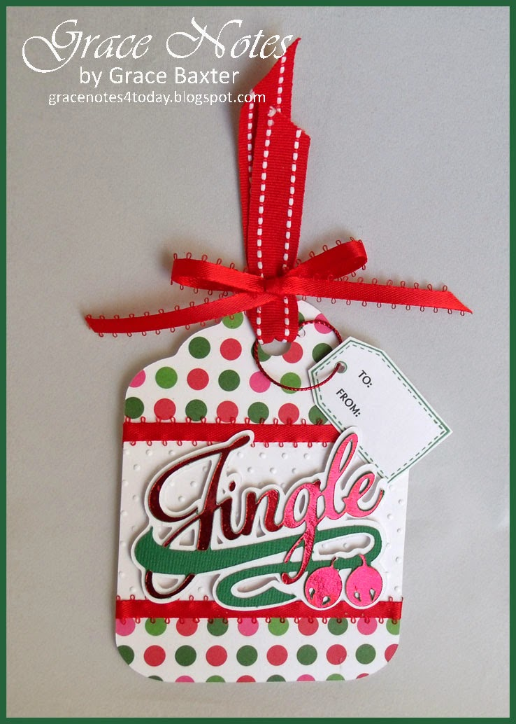 Jingle, large gift tag in 2 versions, by Grace Baxter