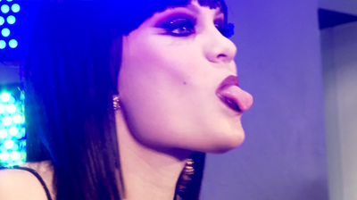 Jessie J, tongue GUESS store opening in New York, April 2010.