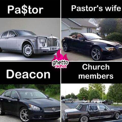 This poster accurately portrays the expensive luxury cars that ntcc tithepayers purchase for the board members while those same tithe paying church members drive oil-puking junkers; and are mocked by kekel for their sacrifice!
