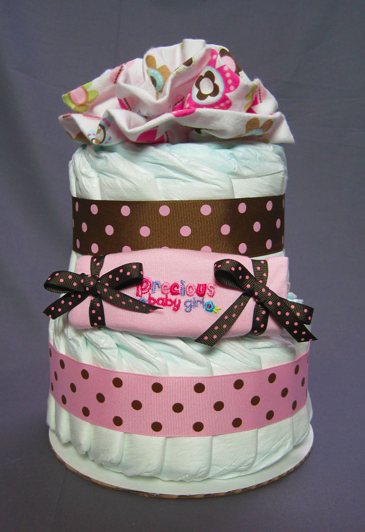 Girlie Small 2 Tier Diaper Cake