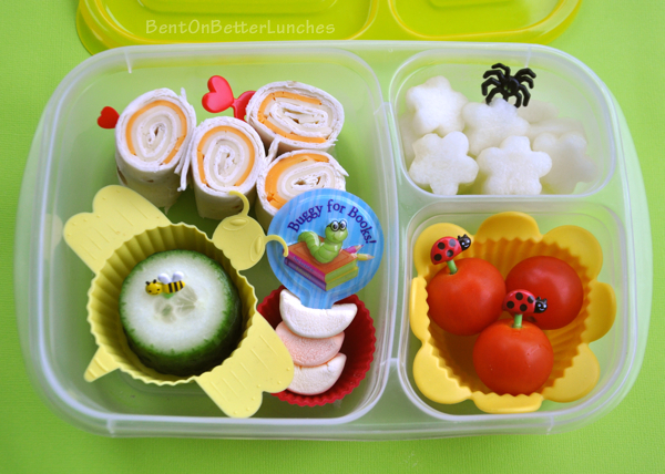 Bug, Bees, &amp; Blossoms bento school lunch in EasyLunchboxes Brights