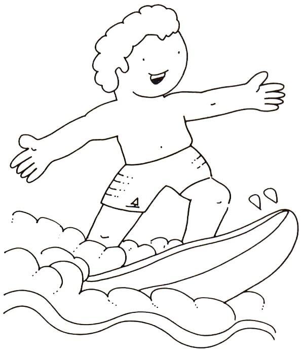 Desenhos Para Colorir o surfista com sua prancha legal  para copiar