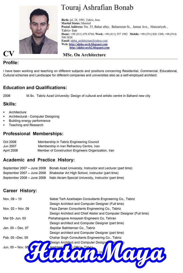 CV RESUME: resume cv bahasa inggris