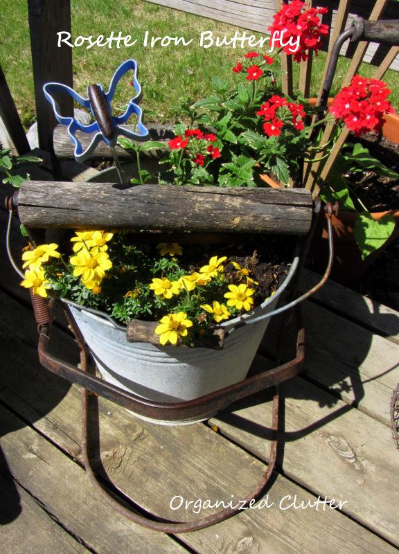 Rosette Iron Repurposed Butterfly Plant Pick www.organizedclutterqueen.blogspot.com