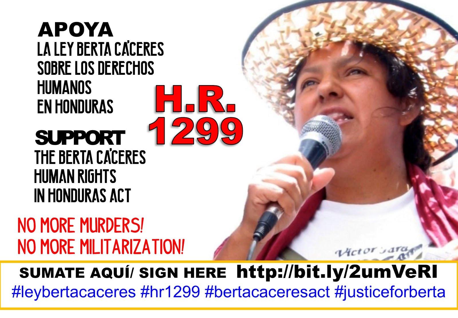 """SUMATE!!! EN APOYO AL PROYECTO DE LEY """"BERTA CÁCERES"""" PARA LOS DERECHOS HUMANOS EN HONDURAS"""