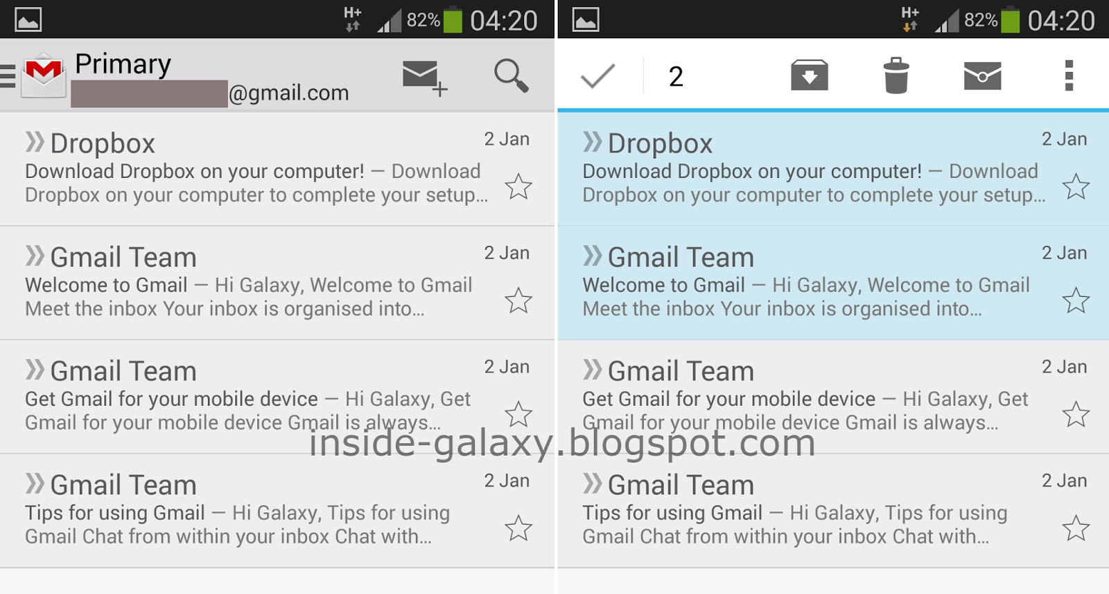 How to select multiple Gmail messages when sender image is turned off?