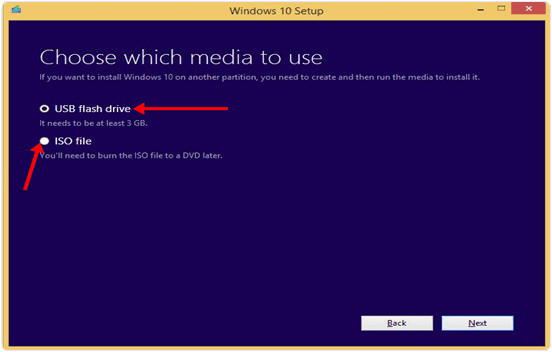 windows 10 usb flash drive or iso file