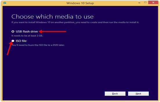 windows 10 usb flash drive or iso file