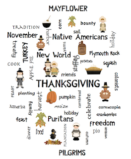 photo of thanksgiving word art poster, free,  PDF, teacherspayteachers.com, Ruth S.