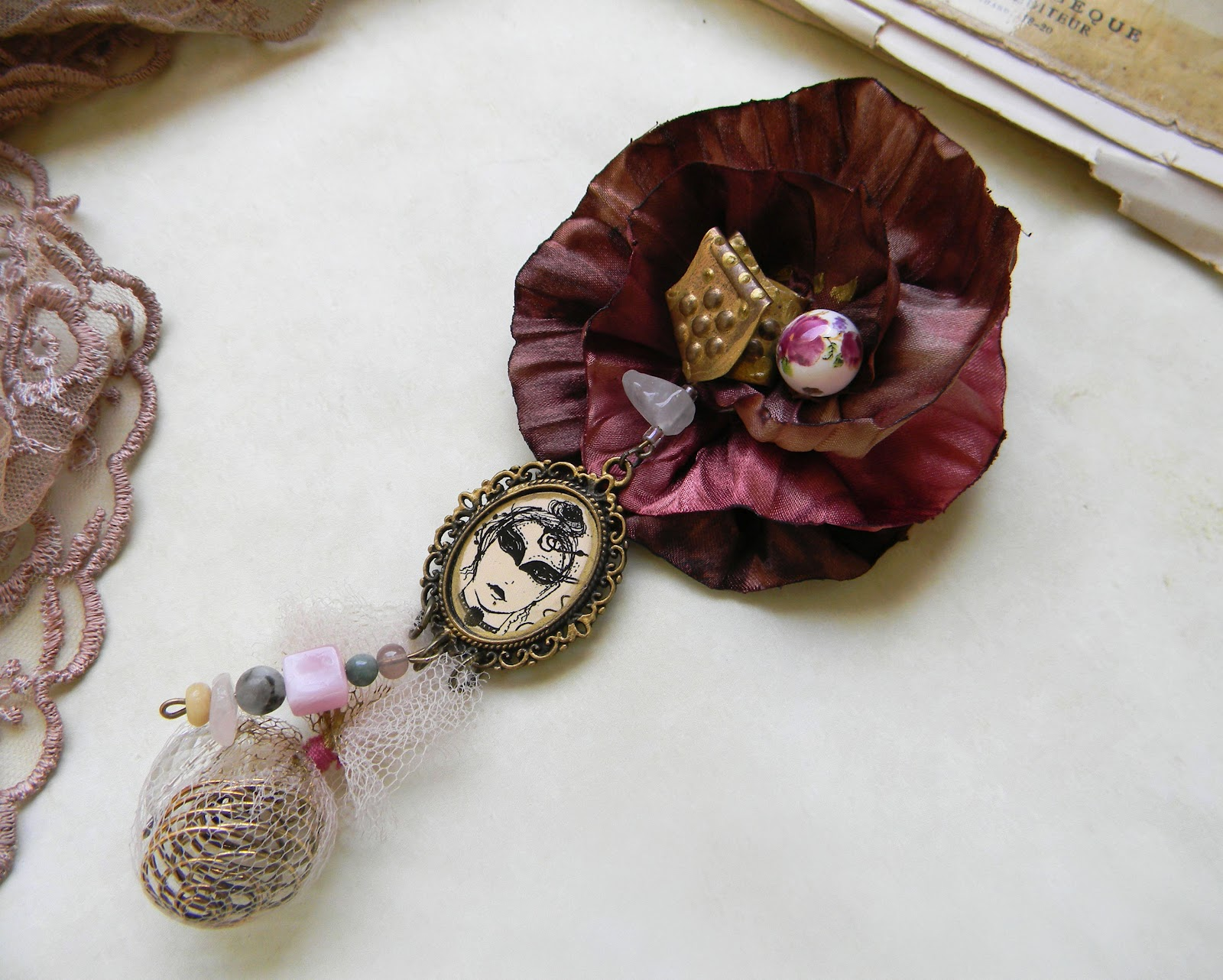"""The Burgundy Rose and Eleonore"" Handmade Brooch/Original Draw"
