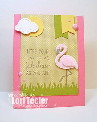 Fabulous Flamingo card-designed by Lori Tecler/Inking Aloud-stamps and dies from Reverse Confetti