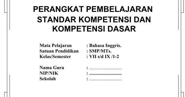 Download Rpp Silabus Bahasa Inggris Smp Kelas 7 8 9 Ktsp Semester 1 Dan 2 Informasi Pendidikan