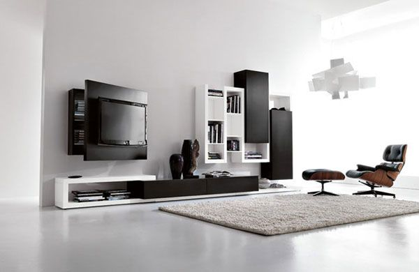 Sala de estar con mueble para televisi n casas decoracion - Muebles de salita de estar ...