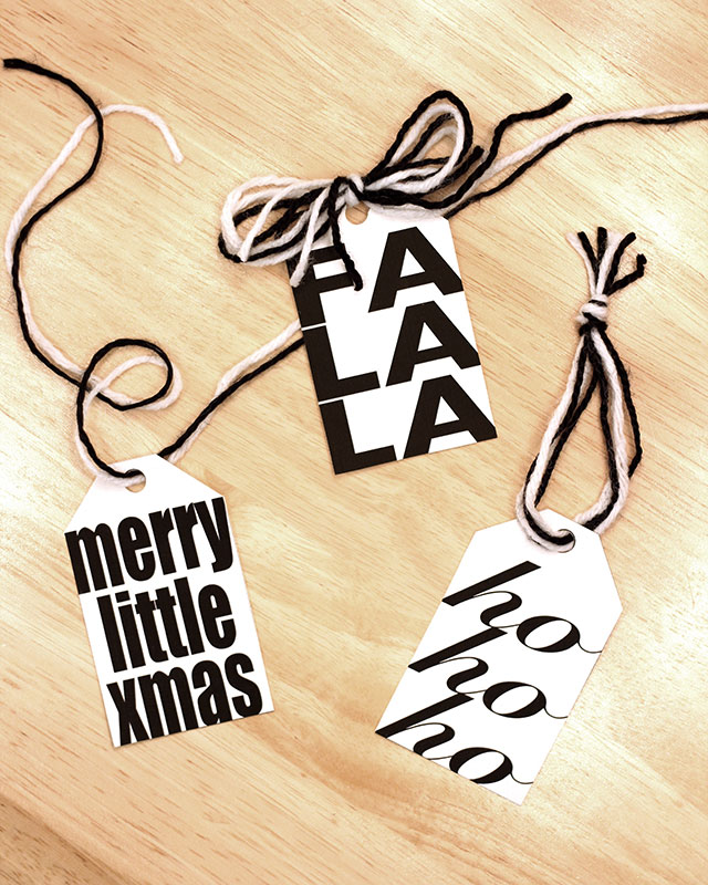 Fun black & white printable gift tags for Christmas