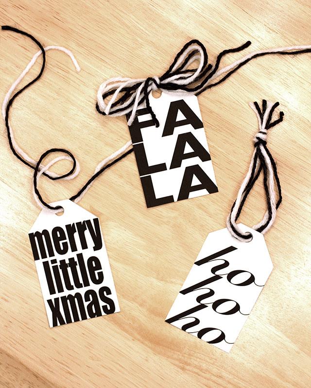 Fun black & white printable gift tags for Christmas
