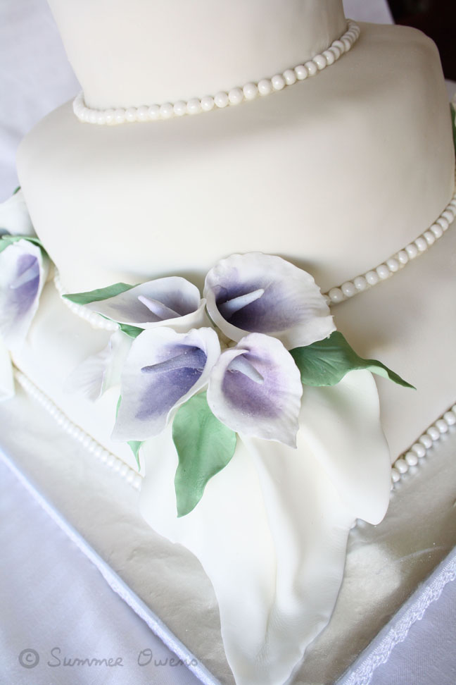3 Tier Wedding Cake With White Fondant Edible Pearls And