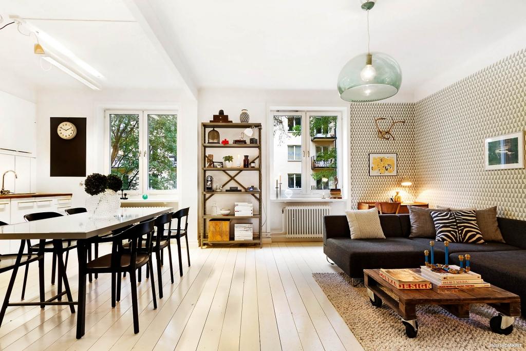 sala tv, copa e cozinha integrada apartamento pequeno