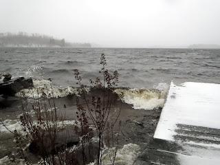 ely, winter, burntside, waves, whitecaps