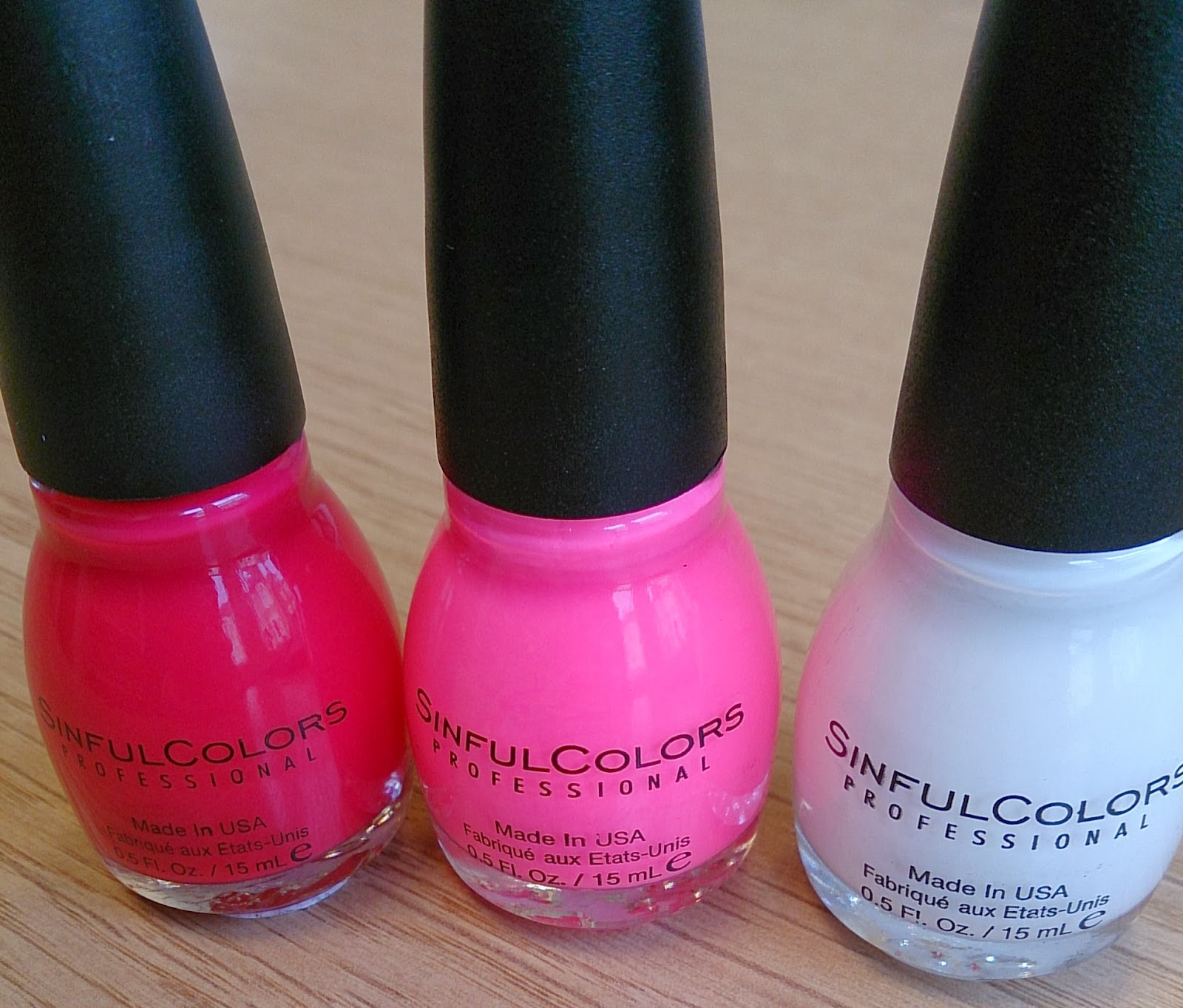 sinful colors nail polish polishes varnish varnishes snow me white pink fluorescent 24/7 folly red haul