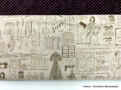 Detalle tela diseño costura Vintage, Vilabors, Patchwork y manualidades
