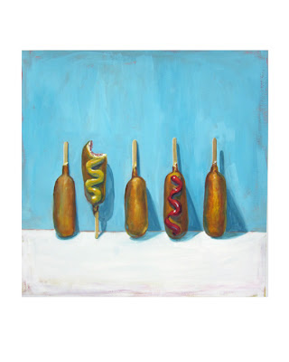 corn dog painting, junk food painting, still life