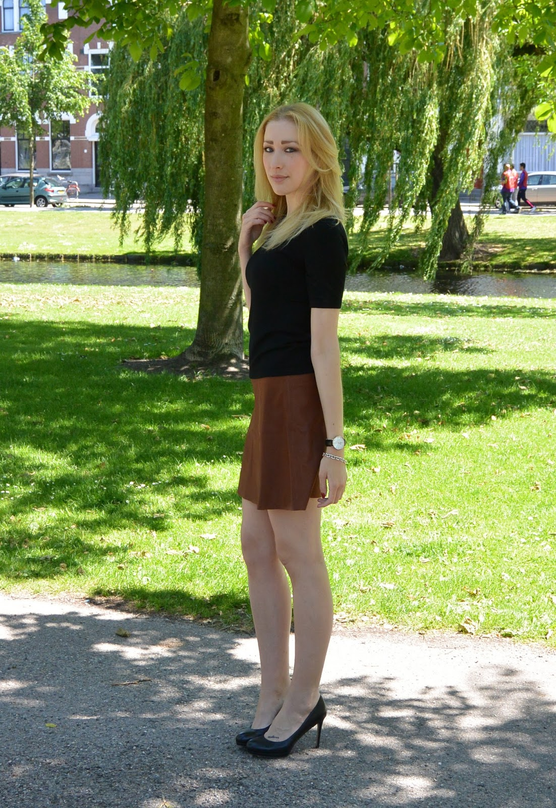 Brown Leather Skirt and Black Shirt | Dashingly Elevating