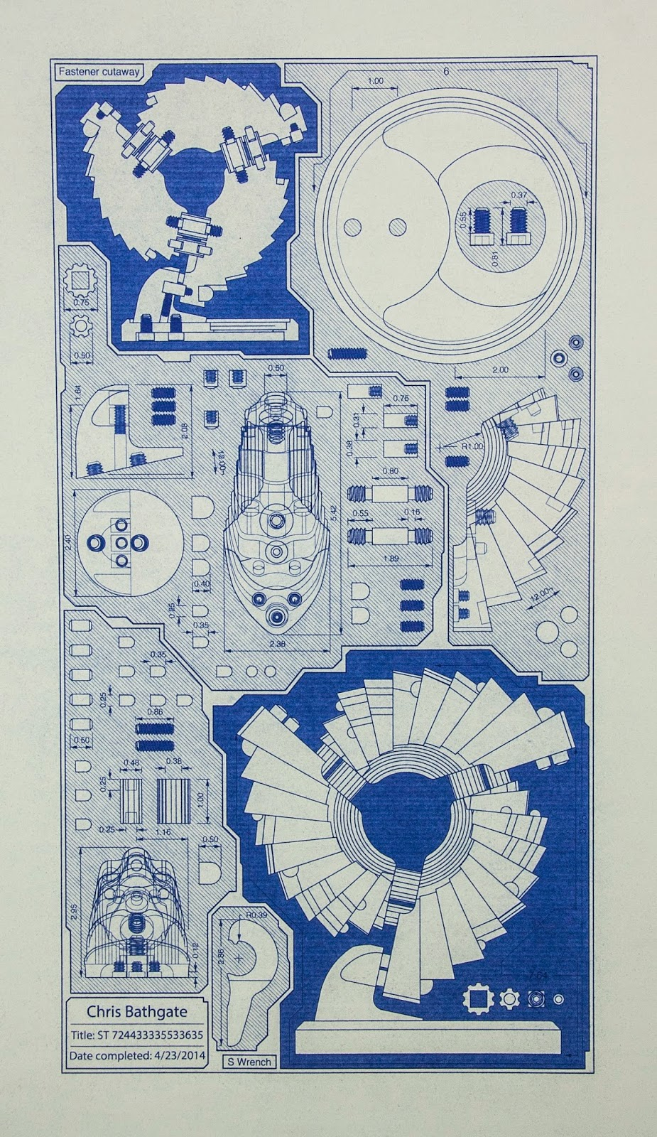 Machine Blueprint, technical art schematic.