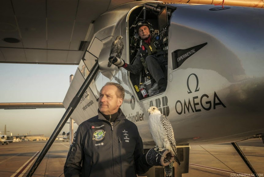 The two pilots of solar impule 2 Bertrand Piccard and André Borschberg