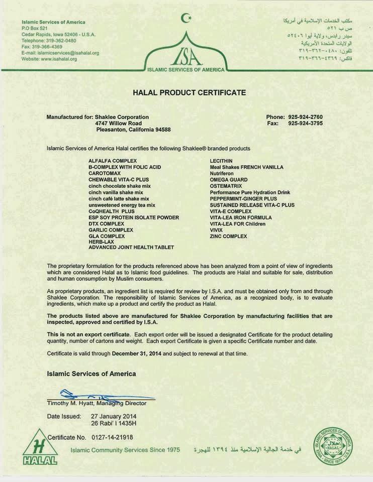 sijil halal shaklee 2014