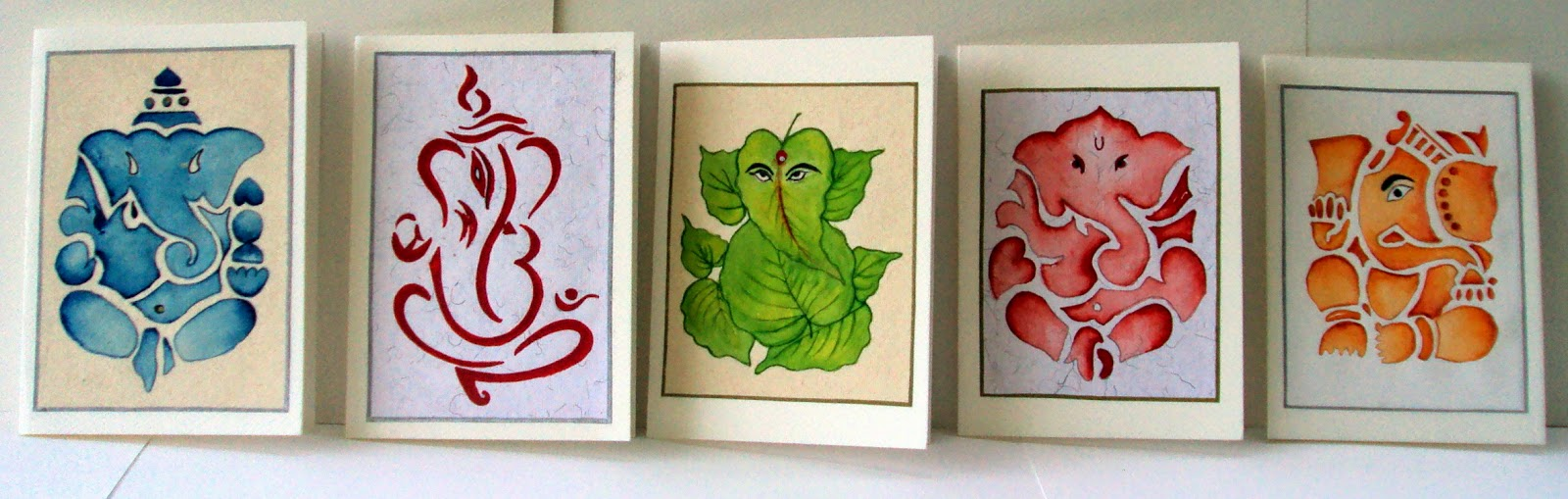ganesha, ganesh, religious, cards, art, handmade, painted, watercolor