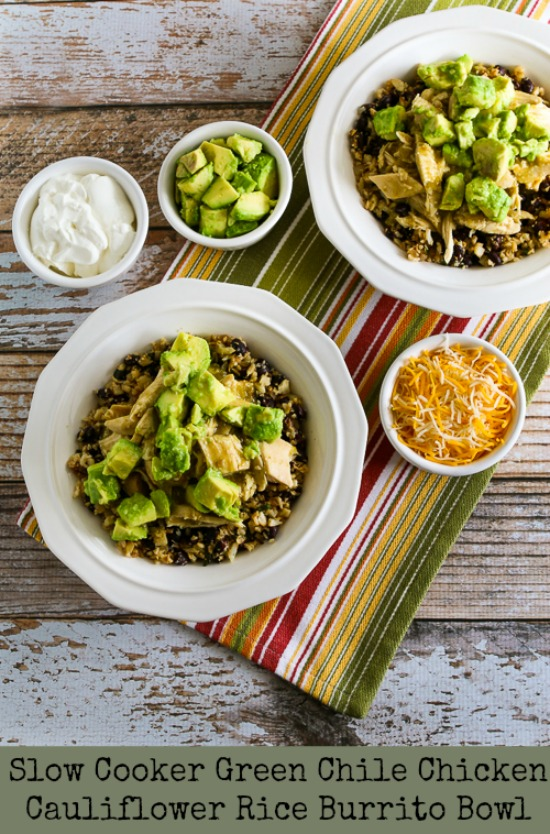 Slow Cooker Green Chile Chicken Cauliflower Rice Burrito Bowl [found on KalynsKitchen.com]