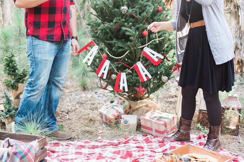 Christmas tree farm engagement photos