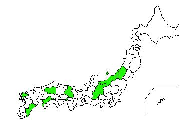 山形、新潟、長野、兵庫、広島、愛媛、佐賀、宮崎を緑色に塗った日本地図