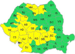 Cod galben de ploi torenţiale pentru zona montană din judeţul Bihor