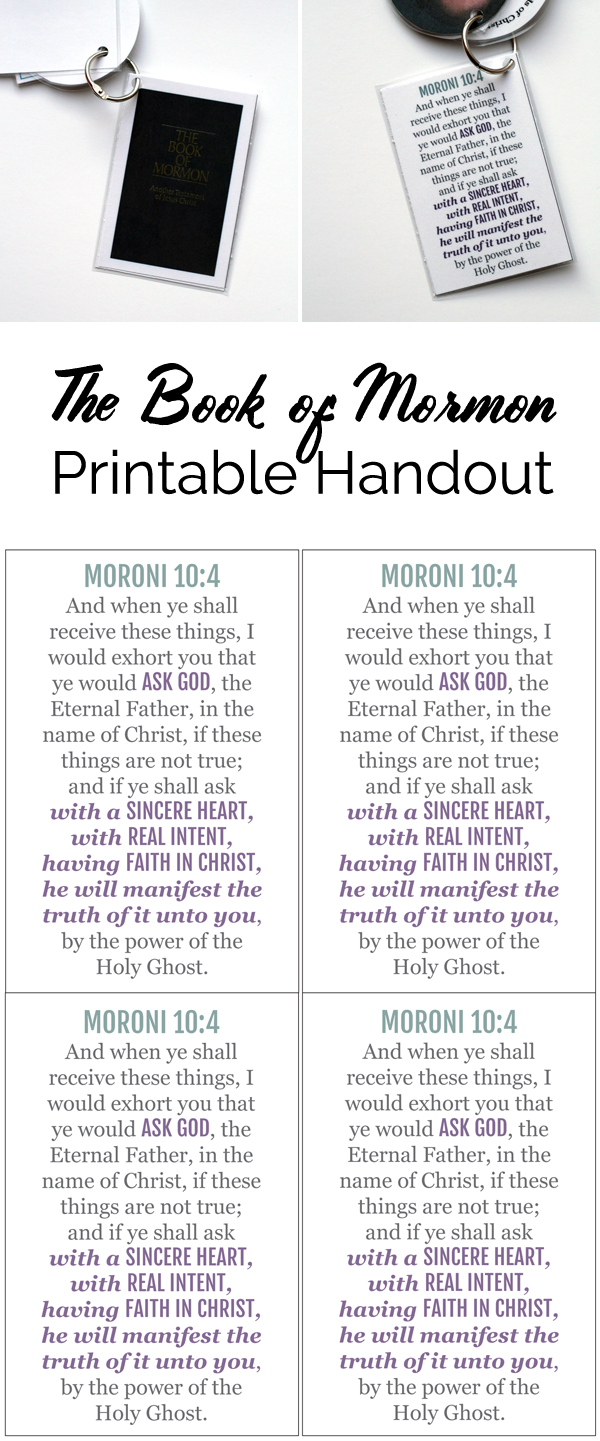 Primary Manual 4: Lesson 1, The Book of Mormon, Free Printable Handout